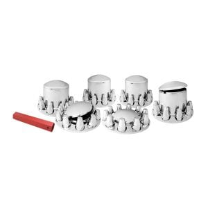 Round Caps Chrome Plastic Complete Axle Cover Set