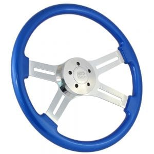 18 Chrome Dual Classic Painted Steering Wheel Blue