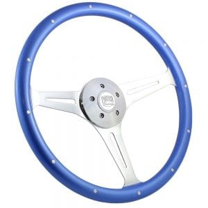 18 Chrome Empire Riveted Steering Wheel Blue Painted with Rivets