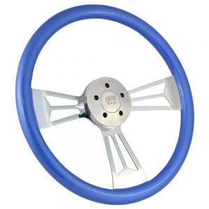 18 Chrome Valor Painted Steering Wheel Frosted Blue