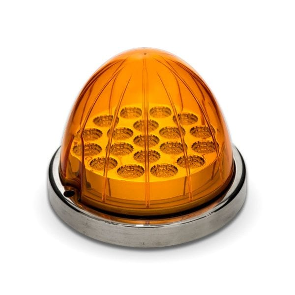Dual Revolution Amber to Blue Auxiliary Watermelon LED Light w/ Bezel