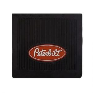 "Black Rubber Mud Flap (Peterbilt Logo) 14"" x 16"""