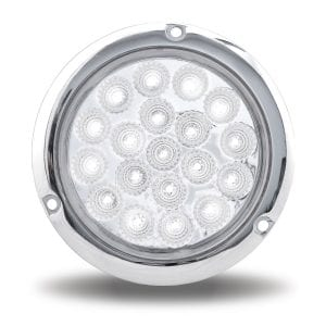 """4"""" Dual Rev. Red Stop, Turn & Tail to White Back-Up LED Light w/ Flange"""