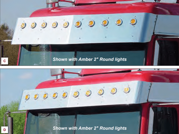 Freightliner FLD/Classic Stainless Midroof Visor