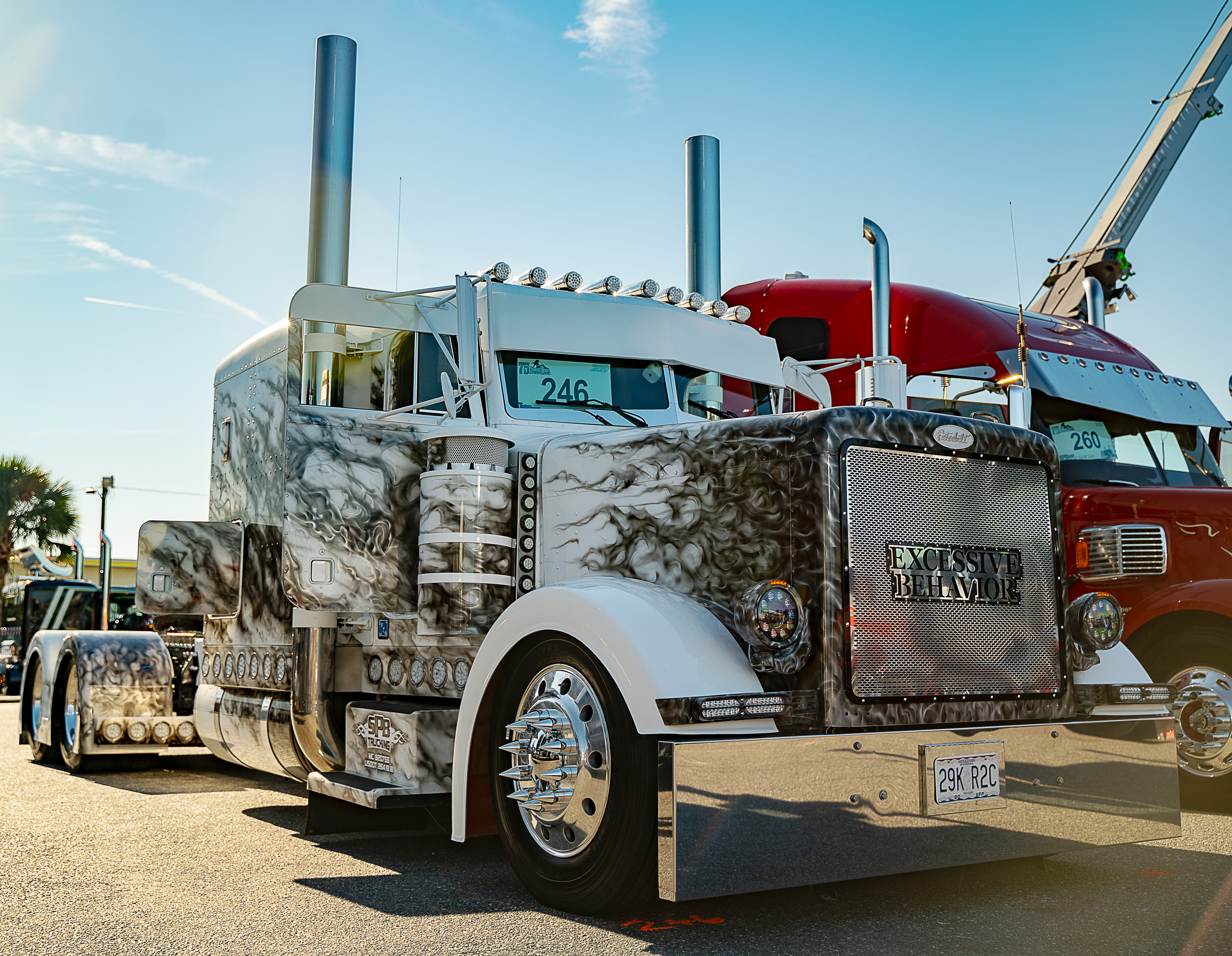 white with black flames custom painted peterbilt