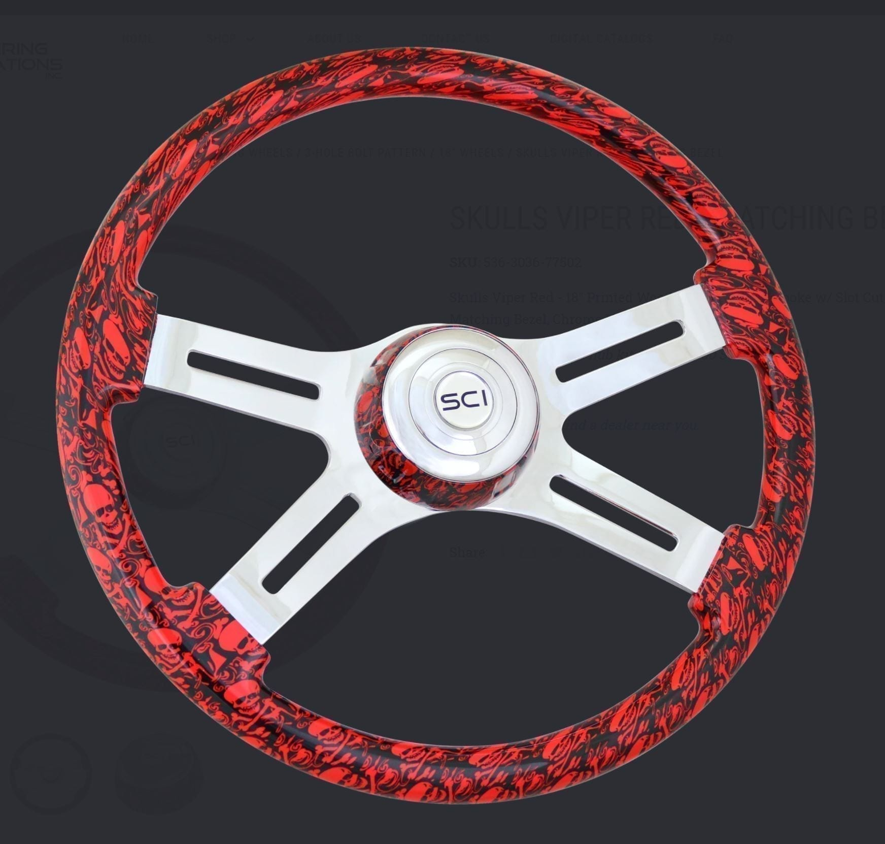 Viper Red Steering Wheels with Skulls